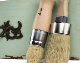 Chalk Paint Brush Set with Oval Shaped Brush and Pointed Wax Brush comparable to Annie Sloan Brushes - Great for furniture and DIY