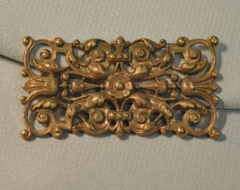 Vintage French Filigree Bracelet Link Gold Toned Thick Raw Brass Die Casting 1 Piece 42J