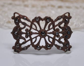Vintage French Filigree Bracelet Link Victorian or Napoleon III Style Gold Toned Thick Raw Brass Stamping 1 Piece 474J