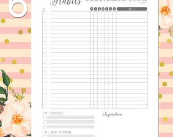 Weekly Habit Tracker, Printable, Daily Habits, Bullet Journal, Monthly Habit Tracker, Successes, Area to Improve, Inspiration, Fitness Plan