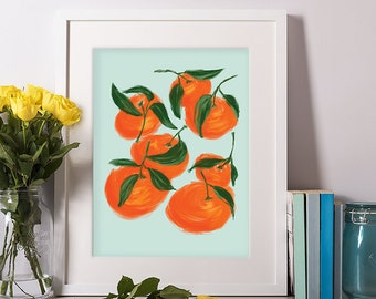 Satsuma, Orange Print, Fruit Digital Print, Fruit Art, Kitchen Art, Kitchen Decor, Gift for Her, Art Prints, Wall Decor, 11x14, 8x10