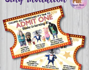 Sing Movie Party, Sing Invitation, Sing Invite, Sing Birthday Party, Sing Party, Karaoke Invitation, Karaoke Party, Sing Movie Party
