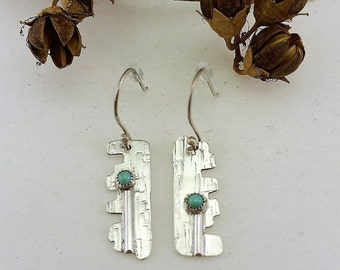 Turquoise, Textured, Sterling Silver, Dangle Earrings