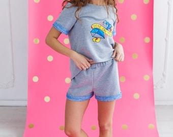 Knit Tee-jama with Diamonds Embroidery and shorts/Women's Pajama /Pajama Top/Sleepwear/Loungwear/Nightwear