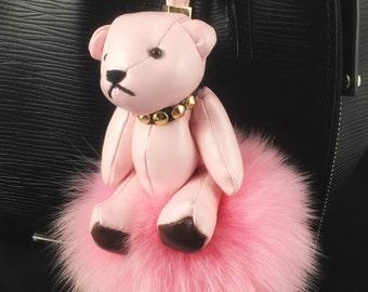 Pink Teddy Bear Bag Charm Plush Fur Keychain Pendant Handbag Purse Leather Designer