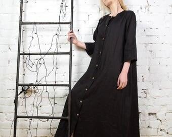 Plus size linen dress, linen robe, long linen tunic,summer linen dress, black linen dress,long sleeved linen dress,Linen button dress/LD0015
