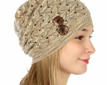 Beige Beanie with Button Beige Knit Hat Brown Knitted Beanie Taupe Knitted Beanie Womens Beanie Womens Knitted Hat FREE U.S. SHIPPING