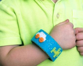 Boy's Felt Cuff Bracelet, Cuff Bracelet, Handmade Boy's Cuff, Kid's Bracelet, Kid's Cuff, Boy's Cuff, Handmade Gifts, Cuff Bracelet
