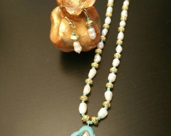 Pearls,  clover Necklace and Earrings set