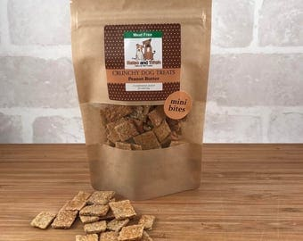 Natural Crunchy Mini Bites for Dogs, gift, pet food, animal, chicken, cheese, peanut butter, honey, bacon, cookie treats