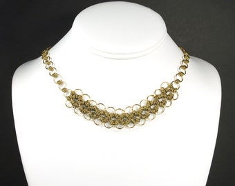 Gold loop necklace - antique gold necklace - chain link necklace