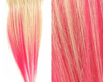 "Set of TWO 8"" Clip-In Human Hair Streaks, Pale Blond and Cupcake Pink Two Tone"