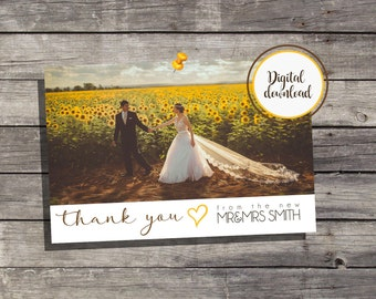 Wedding Thank you Cards Custom Photo / Digital Download