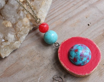 Wood Necklace, Statement Necklace, Red Necklace, Recycled Jewelry, Turquoise Necklace, Unique Necklace, Handpainted Jewelry, Gift for Her