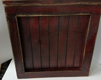 Primitive Storage Wood Counter Top Cubby Bin with Divider  Compartment Potato Onion Bin