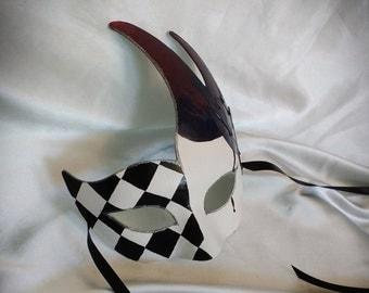 Harlequin Jester Mask - Joker Mask, Jester mask, Masquerade Mask, Party Mask, Costume Mask, Paper Mache Mask, Fantasy Mask