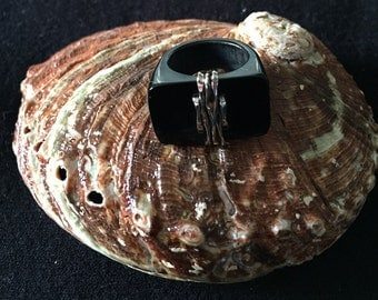 Horn and Sterling Silver Ring