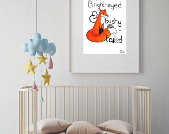 "Fox illustration nursery art print//baby shower//baby gift//nursery decor//nursery wall art//woodland nursery/""bright-eyed and bushy-tailed"""