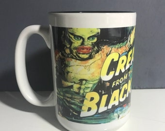 Creature from the black lagoon 15 ounce dishwasher safe mug