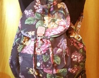 90s Floral Jean Bookbag