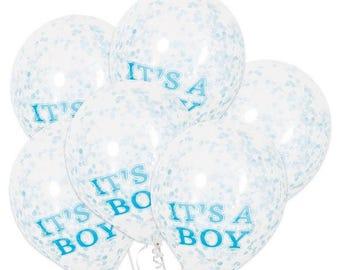 6 CT Baby Boy Blue Confetti Balloons/ Blue Baby Shower Confetti Balloons/ Blue Baby Confetti Balloons/ Baby Boy Blue Confetti Balloons
