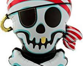 Large Pirate Skull and Bones Shape Balloon/ Pirate Skull Party Balloon/ Pirate Balloon/ Pirate Favors/ Pirate Centerpiece Sticks