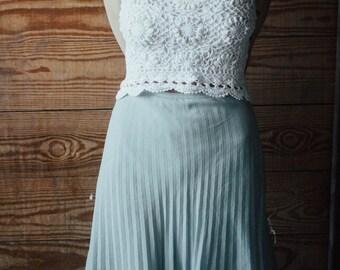 Pleated midi skit, pale blue vintage skirt, pastel blue skirt