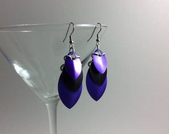 Purple and black scale earrings