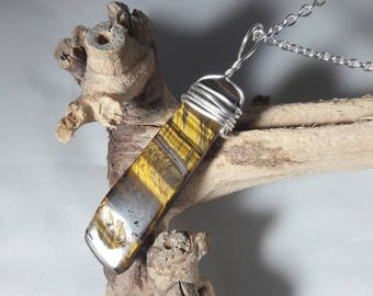 Tiger's Eye Wire-Wrapped Necklace / Authentic Stone Jewelry