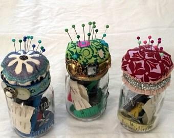 Sewing Kit,Mason Jar Sewing Kit with Pin Cushion,Sewing Supplies,8 ounce Mason Jar,Clear Glass Mason Jar Sewing Kit,Home Sweet Home, Unique