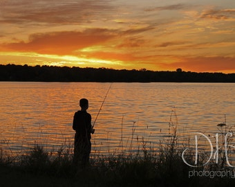 Gone Fishing - Nature Photography - Silhouette - Sunset - Digital