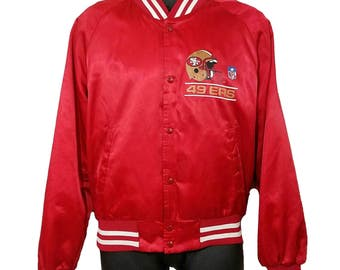 San Francisco 49ers Satin Bomber Jacket Vintage 80s Chalk Line Made In USA Mens Size Medium