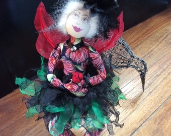 NZ themed fabric doll,fairy sitting,OOAK,unique handmade gift,Cloth fairy doll,textile doll,Pohutakawa Sister 3