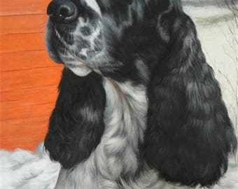 handpainted realistic oil dog paintings, custom oil dog painting on canvas, wall art