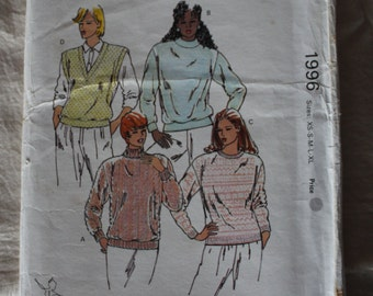 Vintage Kwik Sew 1980s Sewing Pattern 1996 UNCUT Misses' Sweaters & Vest Multisized XS-XL