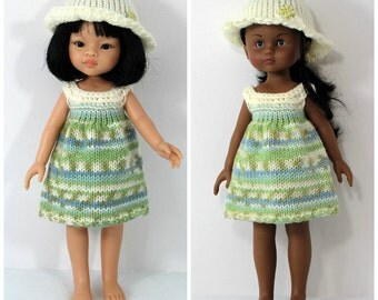 """Knitted dress and hat for Paola Reina doll (12""""/32 cm) and Corolle Les Cheries doll (13""""/33cm)."""