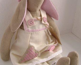 Rabbit style Tilda, rabbit farmer, tilda doll, tilda rabbit, tilda bunny, rag doll, doll, gift, interior, milky-pink, rabbit doll