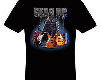 Gear Up  Electric Guitar and Amp Black Cotton T shirt