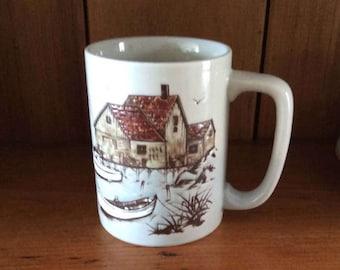 Vintage Japanese Otagiri Ceramic Mug / Maritime Scene / Sailboats