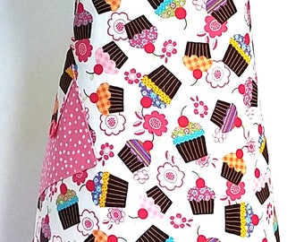 Womens Cupcake Apron, Pink and Multi Cupcake Apron, Womens Full Apron, Retro Fun Apron, Cute Hostess Apron, Ruffle Cupcake Apron