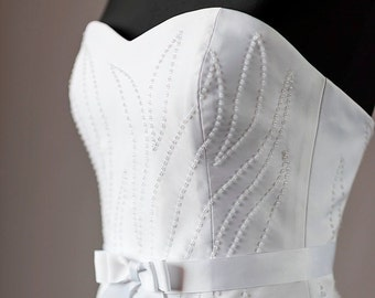 White Wedding Dress short beadwork