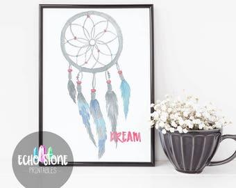 Instant Download Printable Art - Dreamcatcher Digital Download Art - 8x10 Art Print - Art Prints Watercolor - Room Decor - Office Art