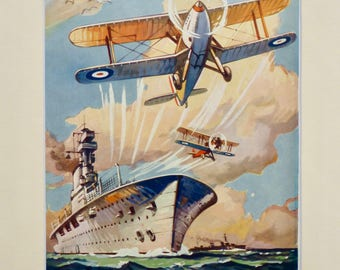 Original 1930's vintage military biplane planes print with mount