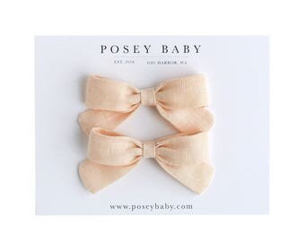 Pigtail Set | Light Peachy Pink | Linen Baby Headbands & Bows