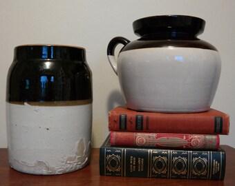 Big Antique Ceramic Pots Brown & Beige with Handle