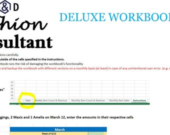 A&D Fashion Consultant DELUXE Finance Accounting Excel Spreadsheet Workbook - Profit, Revenue, Inventory Sales, Expenses, Taxes, and More!