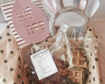 Chicken & Woofles - 1/2 lb - Homemade Dog Treats - Easter Box - Dog Biscuits - Coconut Oil - Organic Pet Treats - Easter Treats