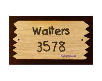 Wood House Number Sign with Sawtooth Edges