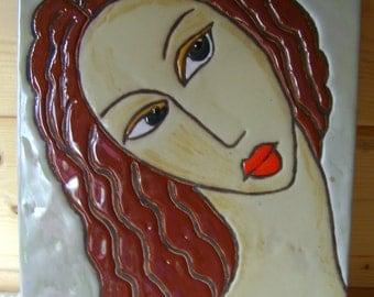 Table partitioned enamels 'Portrait of women' Paloma