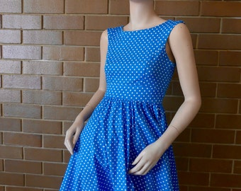 Cute Pinup Style Blue Polka Dot Short Length Dress